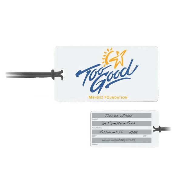 Imprinted Rectangle Write-On Surface Luggage Tag