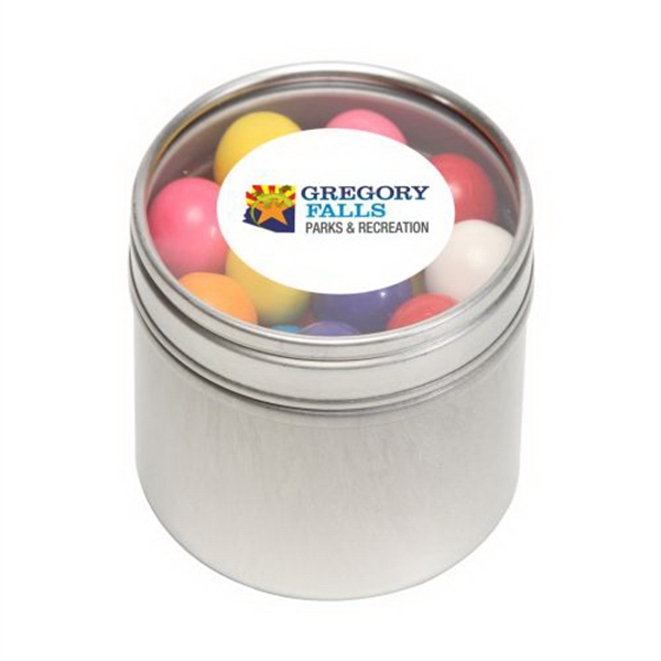 Imprinted Gum Balls in Small Round Window Tin