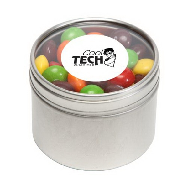 Promotional Skittles in Small Round Window Tin