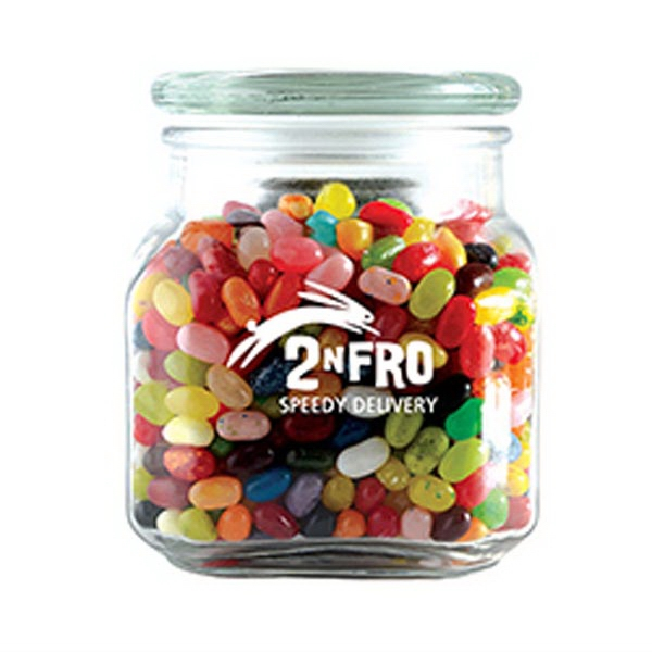 Imprinted Jelly Bellys in Medium Glass Jar