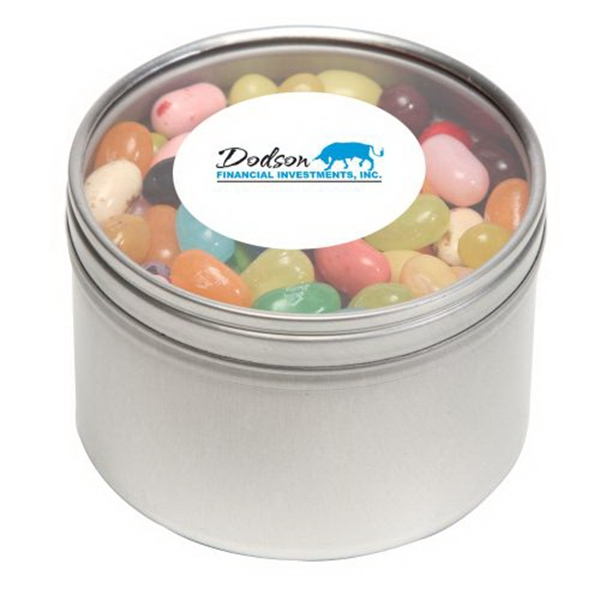 Customized Jelly Bellys in Large Round Window Tin