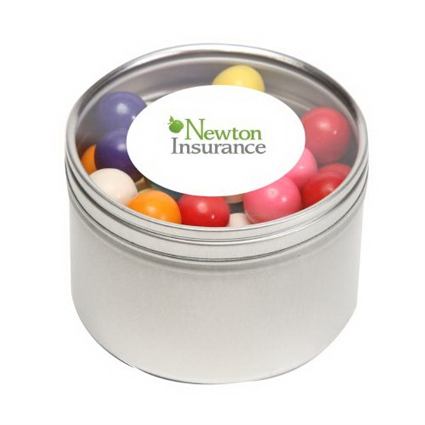 Promotional Gum Balls in Large Round Window Tin
