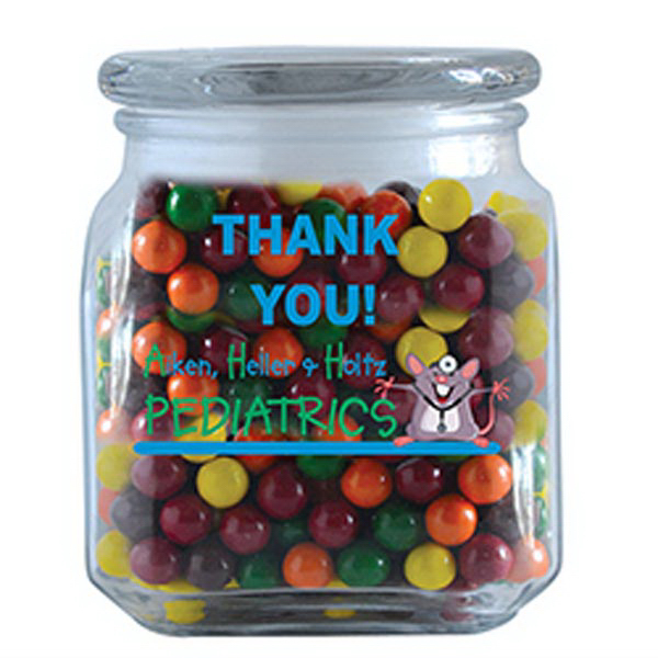 Printed Sixlets in Large Glass Jar
