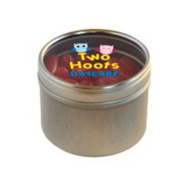 Customized Hot Tamales in Small Round Window Tin