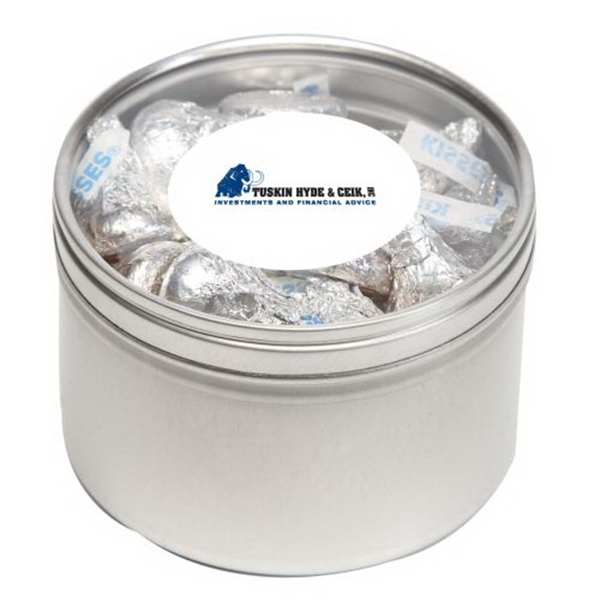 Printed Hershey Kisses in Large Round Window Tin