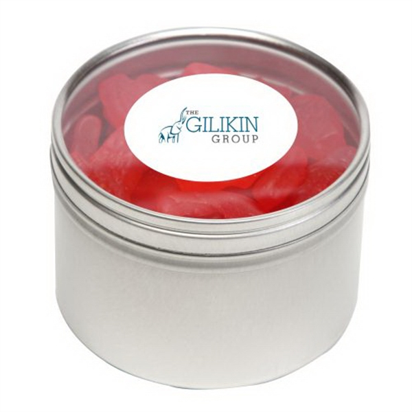 Printed Swedish Fish in Large Round Window Tin