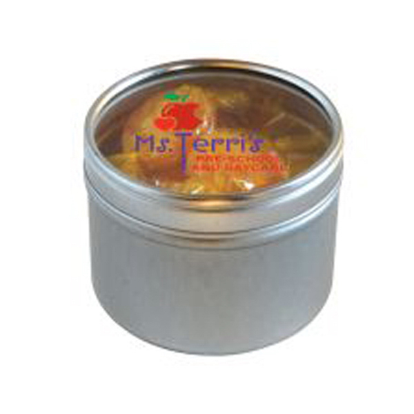 Imprinted Butterscotch Hard Candy in Small Round Window Tin