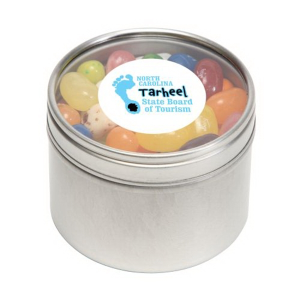 Imprinted Jelly Bellys in Small Round Window Tin