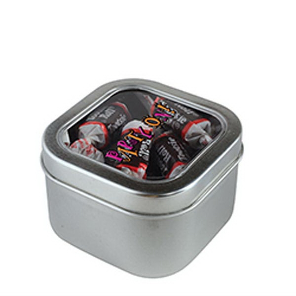 Custom Tootsie Rolls in Small Square Window Tin