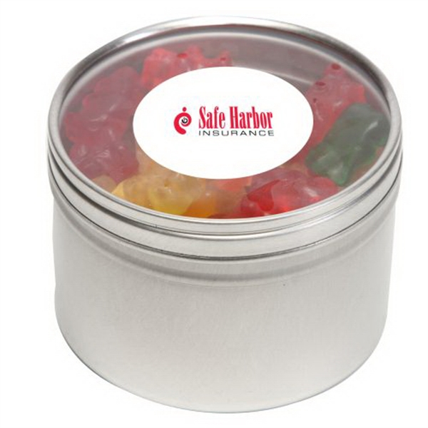Custom Gummy Bears in Large Round Window Tin
