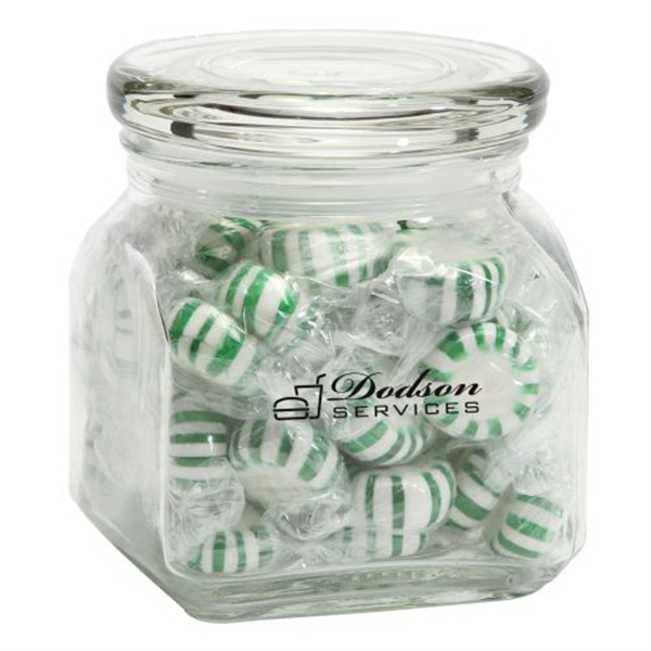 Customized Striped Spear Mints in Small Glass Jar