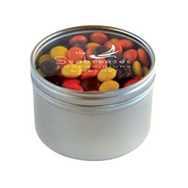 Printed Reeces Pieces in Large Round Window Tin