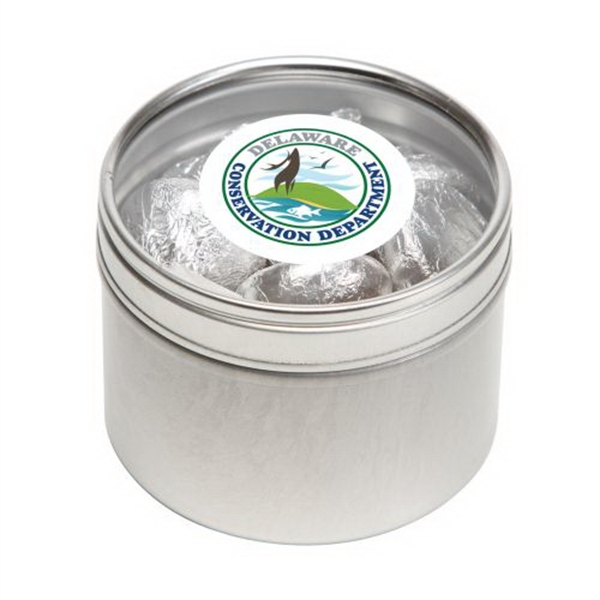 Promotional Hershey Kisses in Small Round Window Tin