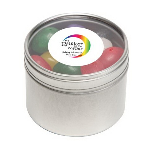 Custom Standard Jelly Beans in Small Round Window Tin
