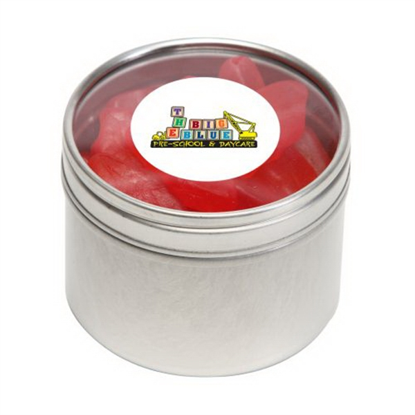 Personalized Swedish Fish in Small Round Window Tin