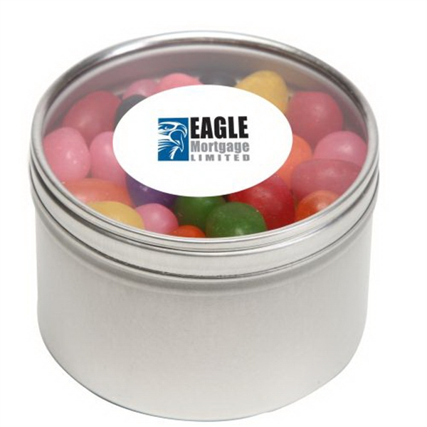 Personalized Standard Jelly Beans in Large Round Window Tin
