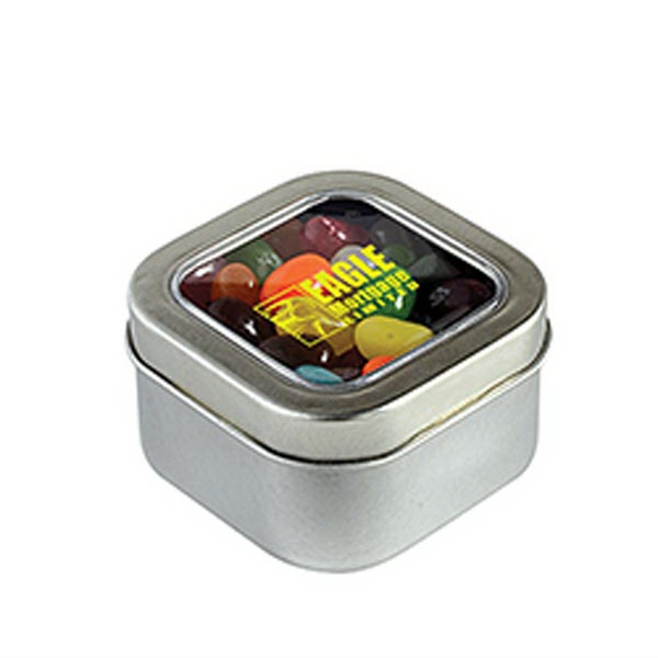 Imprinted Jelly Bellys in Small Square Window Tin