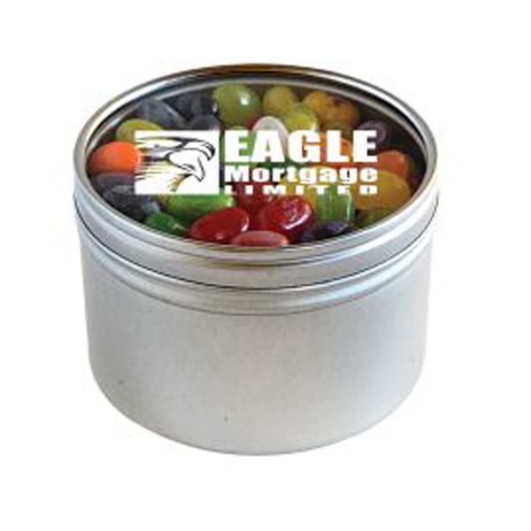 Customized Jelly Bellys - 1 Color in Large Round Window Tin