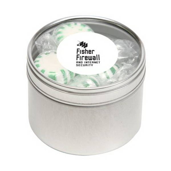 Imprinted Striped Spear Mints in Small Round Window Tin