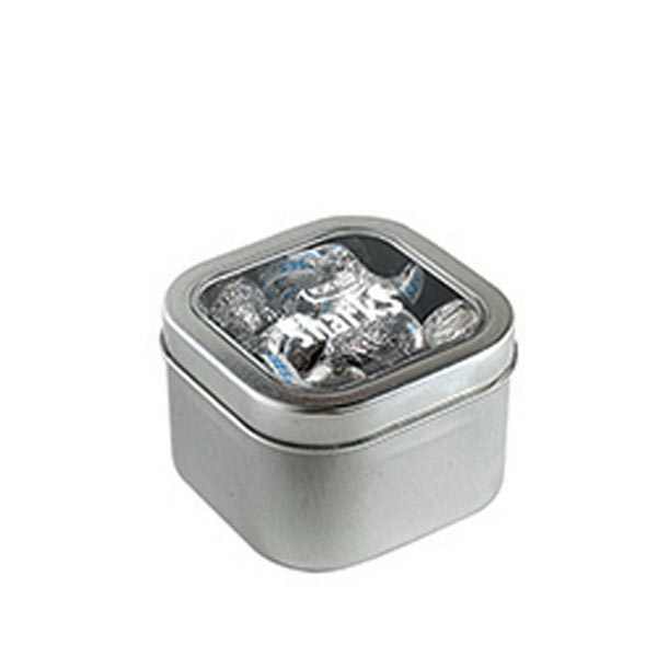 Promotional Hershey Kisses in Small Square Window Tin