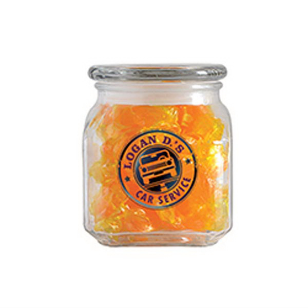 Imprinted Butterscotch Hard Candy in Small Glass Jar