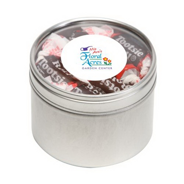 Printed Tootsie Rolls in Small Round Window Tin