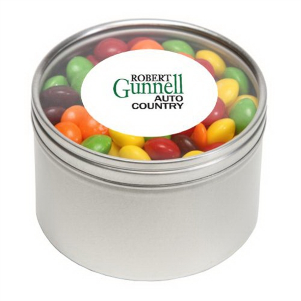 Printed Skittles in Large Round Window Tin