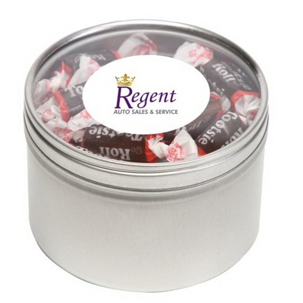 Personalized Tootsie Rolls in Large Round Window Tin