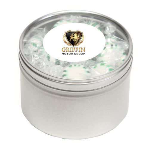 Custom Striped Spear Mints in Large Round Window Tin