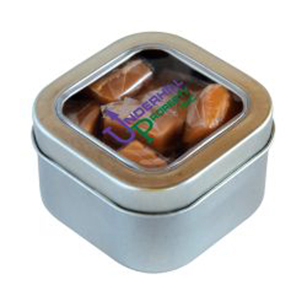 Customized Caramels in Large Square Window Tin