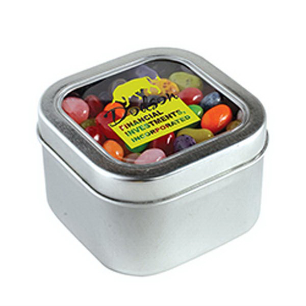 Promotional Jelly Bellys - 1 Color in Large Square Window Tin
