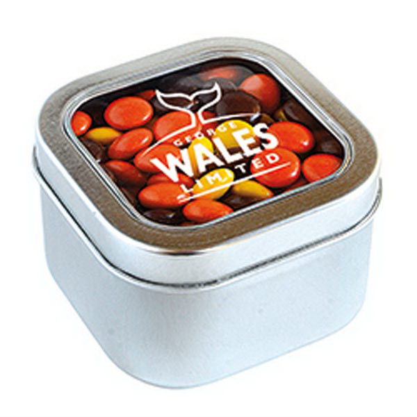 Promotional Reeces Pieces in Large Square Window Tin
