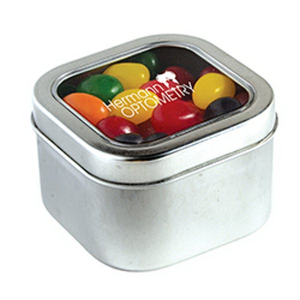 Personalized Standard Jelly Beans in Large Square Window Tin