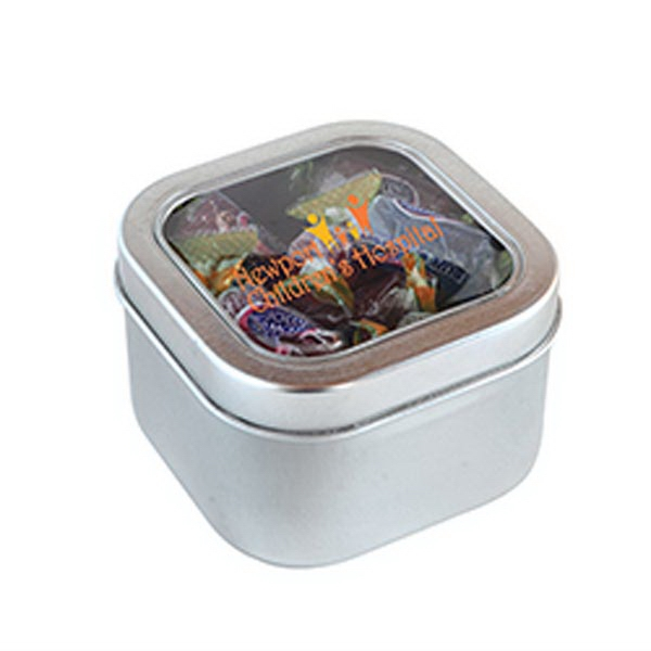 Imprinted Jolly Ranchers in Small Square Window Tin
