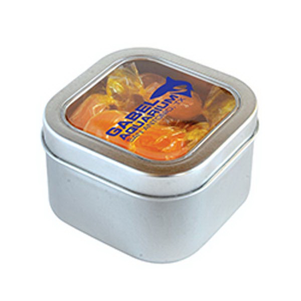 Customized Butterscotch Hard Candy in Small Square Window Tin