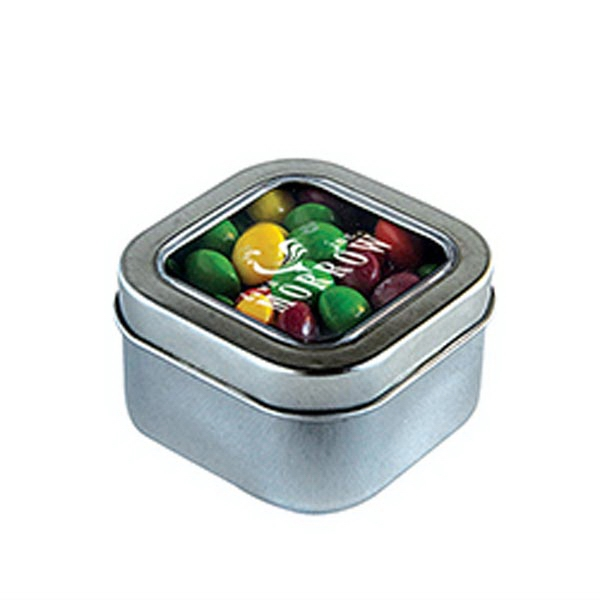 Customized Skittles in Small Square Window Tin