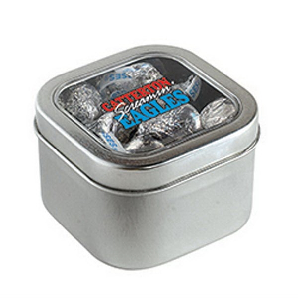 Promotional Hershey Kisses in Large Square Window Tin