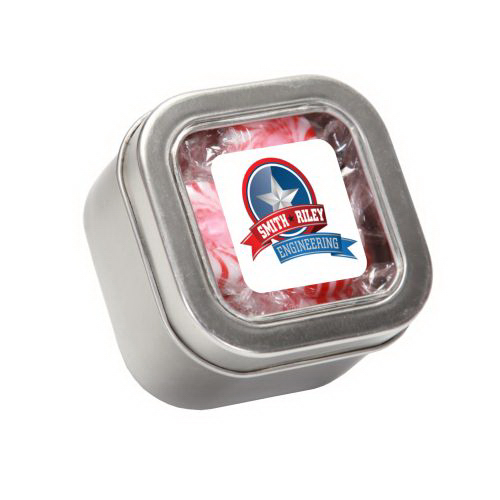 Customized Striped Pepper Mints in Small Square Window Tin