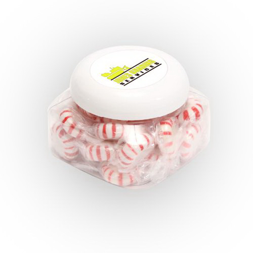 Customized Striped Pepper Mints in Large Snack Canister