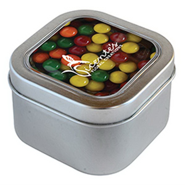 Promotional Sixlets in Large Square Window Tin
