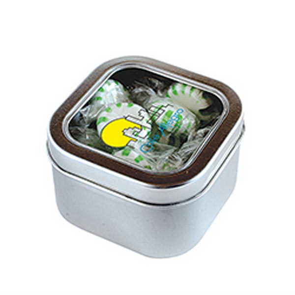 Customized Striped Spear Mints in Small Square Window Tin