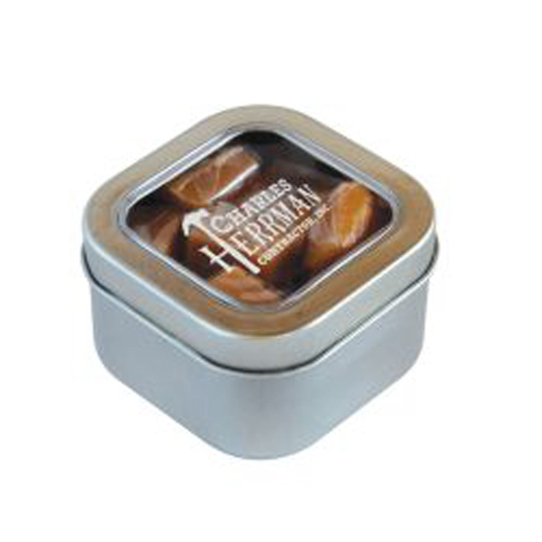 Imprinted Caramels in Small Square Window Tin