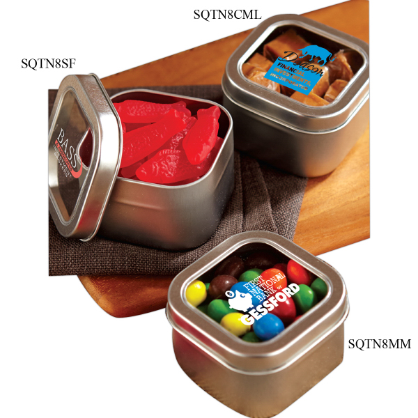 Promotional Runts in Large Square Window Tin