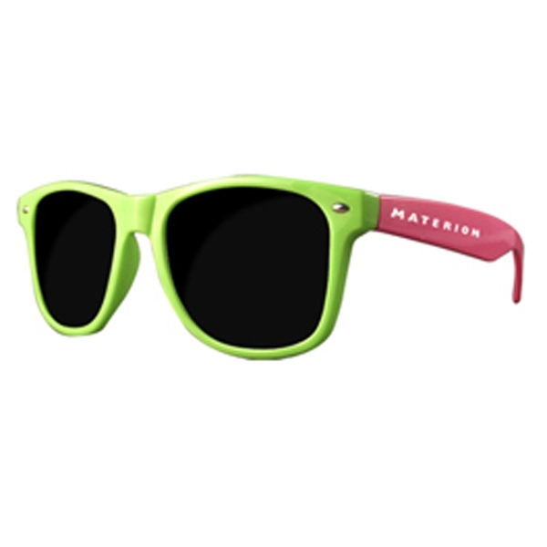 Imprinted Premium 2 tone pink and green sunglasses
