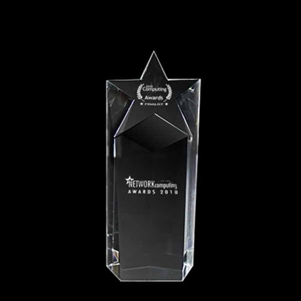 Imprinted Crystal trophy (short star)