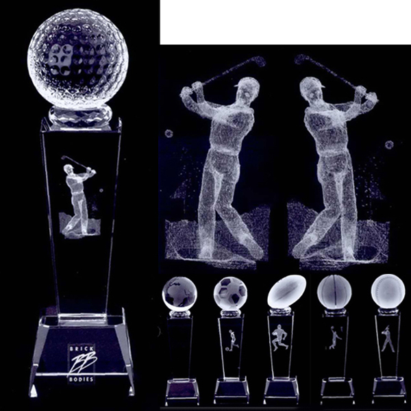 Personalized 3D crystal sports trophy