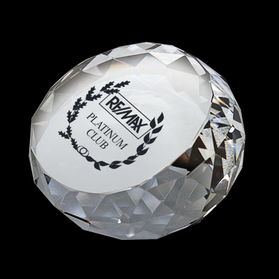 Imprinted Round Diamond Crystal Paperweight