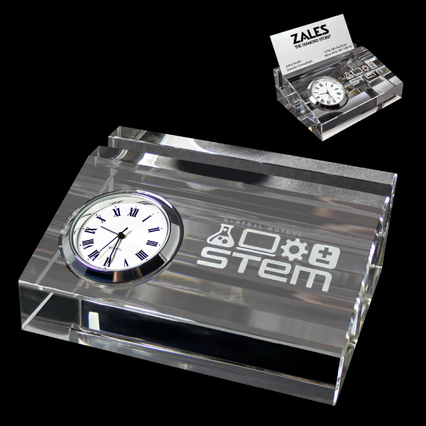Imprinted Crystal card holder with clock