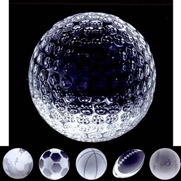 Imprinted Crystal sport ball paperweight