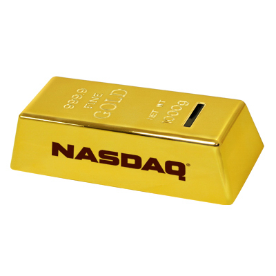 Imprinted Gold bar coin bank